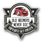 Koolart OLD BEEMERS NEVER DIE Motif For Red BMW E46 3 series COUPE External Vinyl Car Sticker Decal Badge 100x100mm (19)